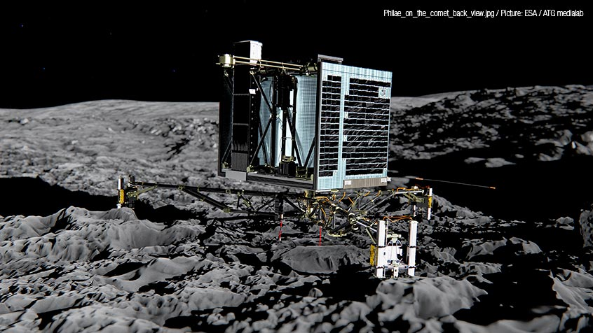 Philae_on_the_comet_back_view.jpg / Picture: ESA / ATG medialab