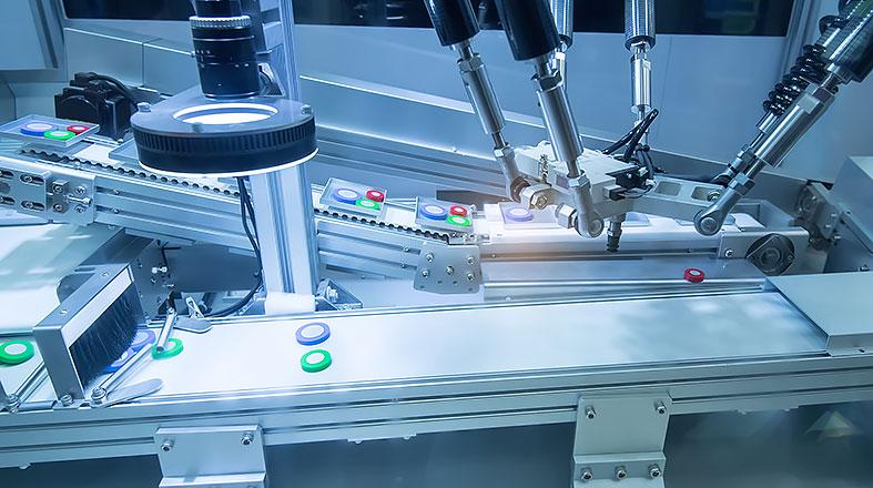 Motorer för puckhantering och sorteringsarmar